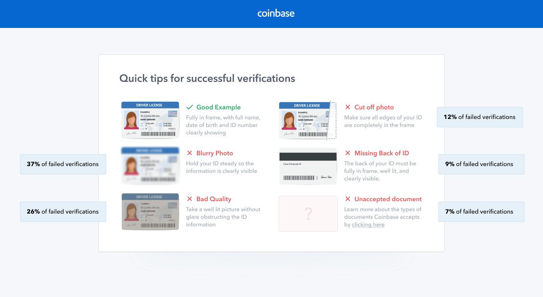 Les erreurs d'identification sur coinbase