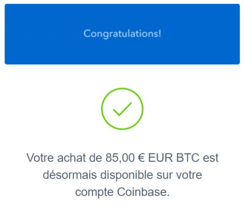 Felicitation achat de bitcoin sur coinbase