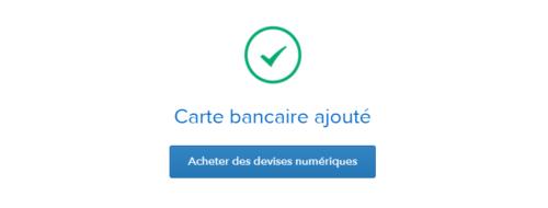 Succes d'ajout de la carte bancaire